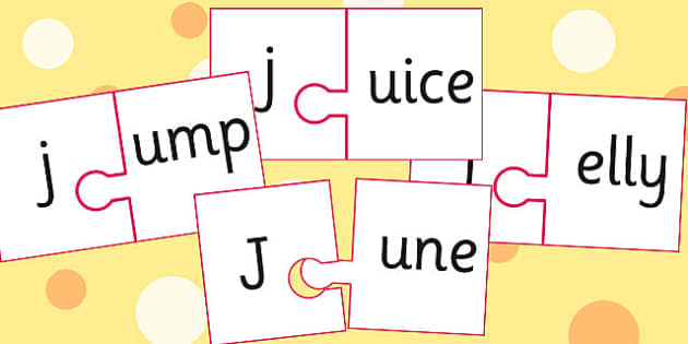 j And Vowel Production Jigsaw Cut Outs - j, vowel, jigsaw, sounds