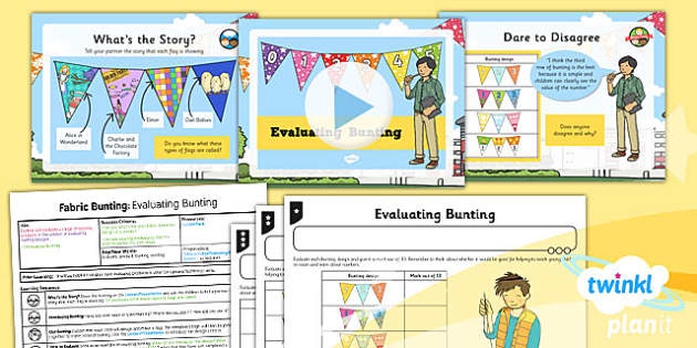PlanIt - DT KS1 - Fabric Bunting Lesson 1: Evaluating Bunting Lesson Pack