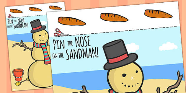 Pin The Nose On The Sandman Activity A4 - christmas, activities