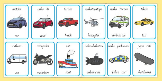 Ngā mea haere Things That Go Flashcards English/Te Reo Māori - transport, vehicles, games, vocabulary, māori
