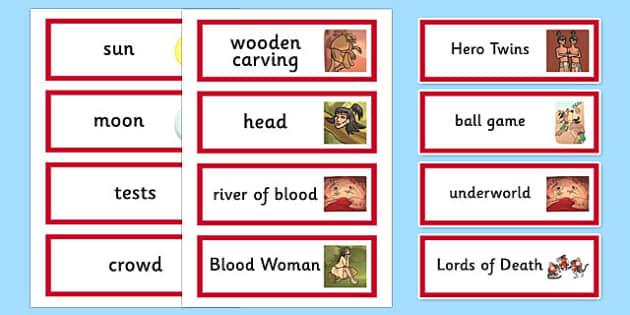 The Hero Twins Mayan Civilization Word Cards - ancient maya