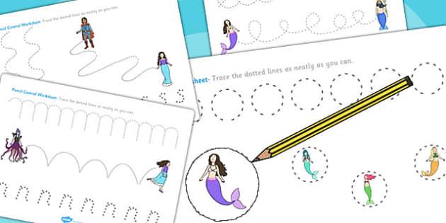 The Little Mermaid Pencil Control Sheets - fine motor skills