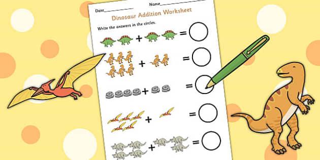 Dinosaur Themed Addition Sheet - add, adding, numeracy, maths