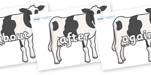 KS1 Keywords on Cows - KS1, CLL, Communication language and literacy, Display, Key words, high frequency words, foundation stage literacy, DfES Letters and Sounds, Letters and Sounds, spelling