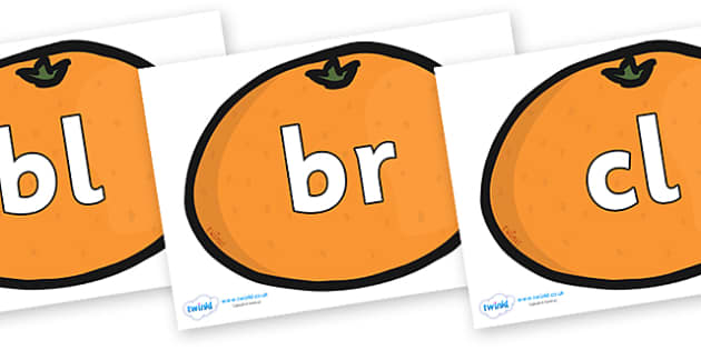 Initial Letter Blends on Satsumas - Initial Letters, initial letter, letter blend, letter blends, consonant, consonants, digraph, trigraph, literacy, alphabet, letters, foundation stage literacy