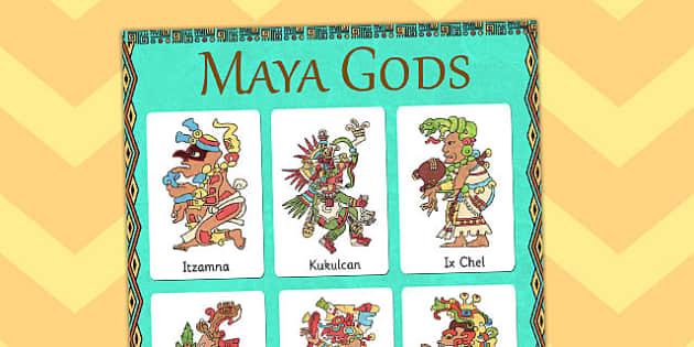 Maya Gods Vocabulary Poster - mayans, ancient maya, mayan display