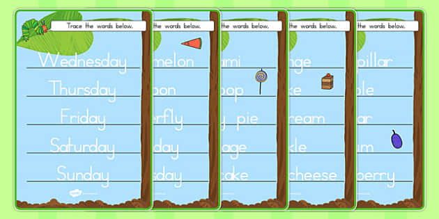 Trace the Words Worksheets to Support Teaching on The Very Hungry Caterpillar - australia