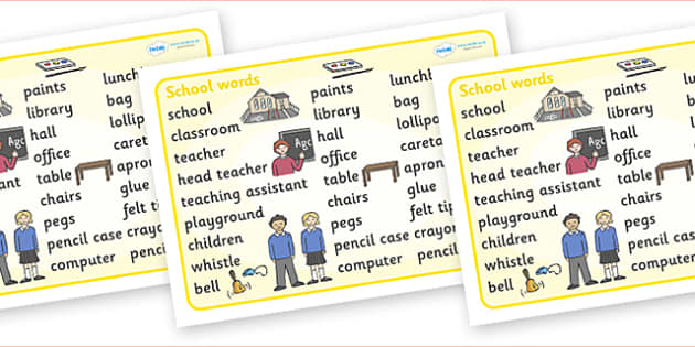 School Word Mat - school, teacher, table, chairs, classroom, cloakroom, toilets, playgrough