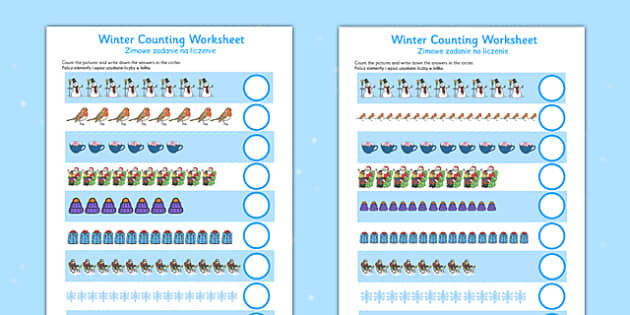 Winter Counting Sheet Up to 20 Polish Translation - polish, winter, counting, sheet, up to, 20