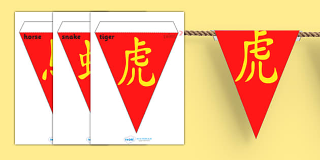 Australia Chinese New Year Symbols Display Bunting - decorations, display bunting, chinese new year, symbols bunting