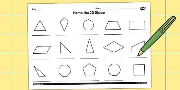 Name the 2D Shape Year 5 Worksheet - worksheet, 2d, shape, year 5