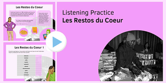 Les Restos du Coeur Listening Practice PowerPoint - French