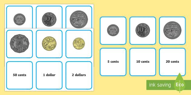 Australian Coins Matching Cards - Australian currency, Australian money, Australian coins, Australia