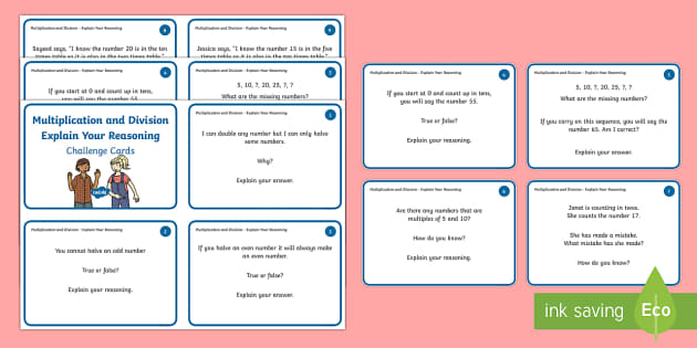 Year 1 Multiplication and Division Explain Your Reasoning Challenge Cards - Year 1, Maths Mastery, multiplication, multiply, times, lots of, product, divide, division, share, e