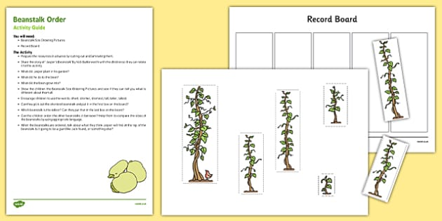 Beanstalk Order Busy Bag Resource Pack for Parents to Support Teaching on Jasper's Beanstalk - height, length, order, mathematics, EYFS, ordering, compare, ssm, shape, shape, measure