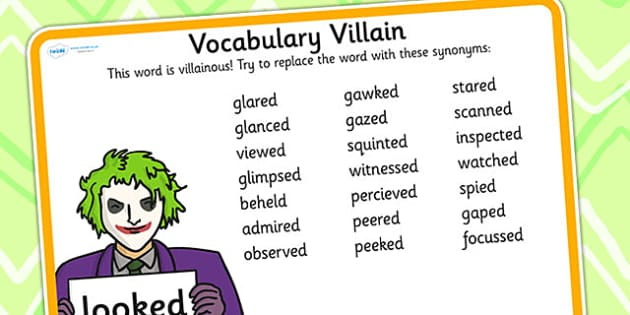Vocabulary Villain Looked Word Mat - vobaulary, word mat, looked