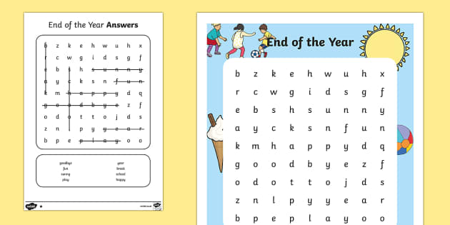 End of Year Differentiated Word Search - End of Year, end of year activity sheet, last day of school, last day of school activity sheet, end