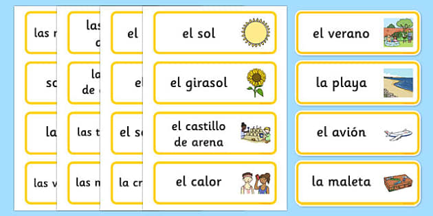 Summer Topic Word Cards Spanish - spanish, Summer, Word cards, Word Card, flashcard, flashcards, season, holiday, holidays, beach, sun, flowers, ice cream, sea, seaside
