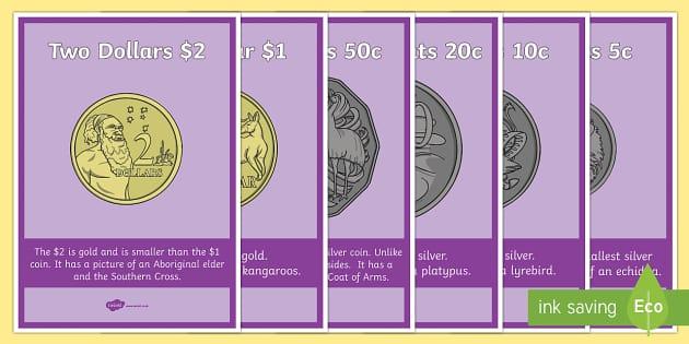 Australian Coins A4 Display Poster - Australian currency Australian coinsCoinsACMNA017,Australia