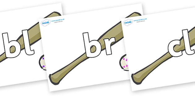Initial Letter Blends on Bat and Balls - Initial Letters, initial letter, letter blend, letter blends, consonant, consonants, digraph, trigraph, literacy, alphabet, letters, foundation stage literacy