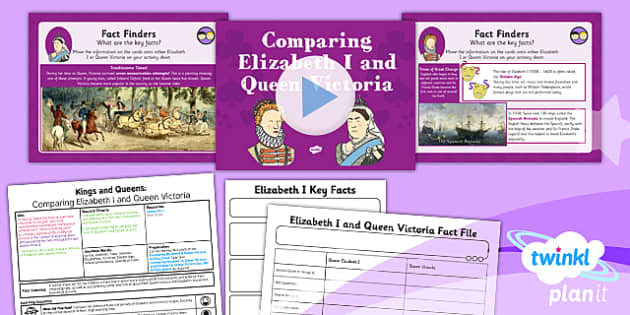 * NEW * PlanIt - History KS1 - Kings and Queens Lesson 6: Comparing Elizabeth I and Queen Victoria Lesson Pack