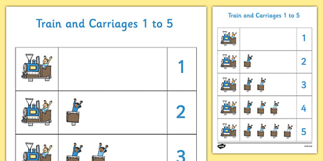 Train and Carriages 1 to 5 Number Mat - Numbers, number, count counting, maths, eyfs, train, trains, carriages