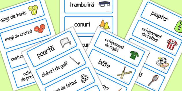 Magazinul de Sport , cartonase cu imagini si cuvinte, joc de rol, Romanian