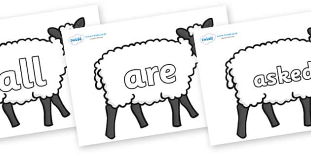 Tricky Words on Sheep - Tricky words, DfES Letters and Sounds, Letters and sounds, display, words