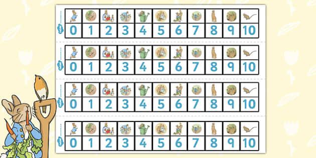 The Tale of Peter Rabbit Number Track 0-10 - number track, 0-10
