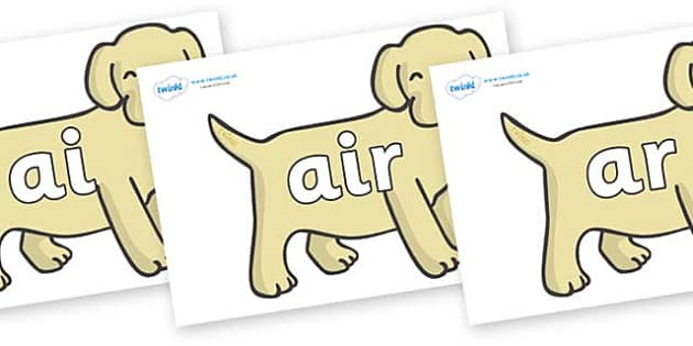 Phase 3 Phonemes on Puppies - Phonemes, phoneme, Phase 3, Phase three, Foundation, Literacy, Letters and Sounds, DfES, display