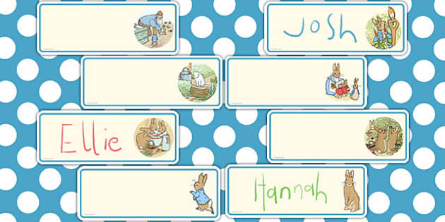 The Tale of Peter Rabbit Editable Drawer Peg Name Labels - rabbit