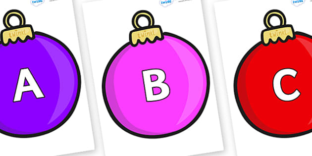 A-Z Alphabet on Baubles (Plain) - A-Z, A4, display, Alphabet frieze, Display letters, Letter posters, A-Z letters, Alphabet flashcards