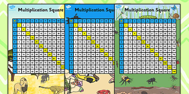 Multiplication Squares 12x12 - multiplication grid, multiply