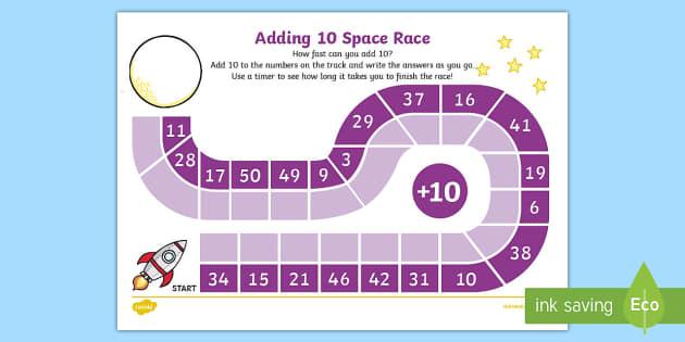 Adding 10 Race Activity Sheet - adding, 10, race, worksheet, game