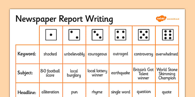 Newspaper Report Writing Dice Activity - writing aid, template
