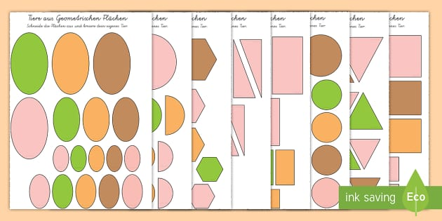 Tiere aus Geometrischen Flächen Aktivität - Grüffelo, Geometrie, Flächen, 2D, Aktivität, German