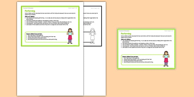 Foundation PE (Reception) - Performance Teacher Support Card - EYFS, PE, Physical Development, dance