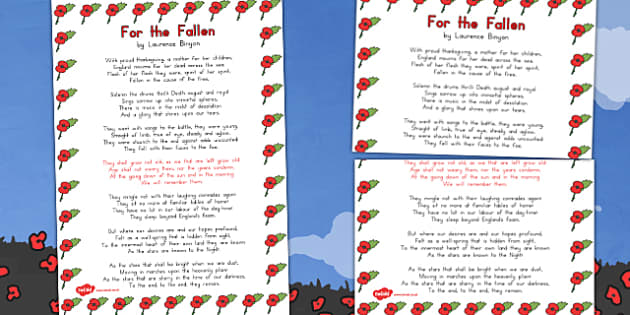 Remembrance Day Poem For The Fallen A3 Poster - australia, poem