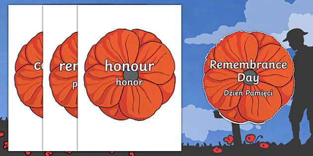 Remembrance Day Topic Words on Poppies Polish/English