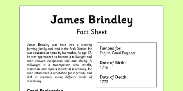 James Brindley Fact Sheet - canals, james brindley, engineer, british, geography