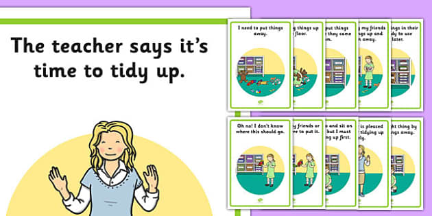 Tidy Up Time Social Story Posters - tidy up time, social story, posters, display, social, story