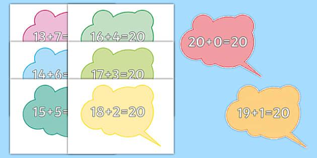 Number Bonds to 20 on Speech Bubbles - number bonds, 20, speech bubbles