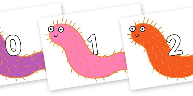 Numbers 0-100 on Bristle Worm to Support Teaching on Sharing a Shell - 0-100, foundation stage numeracy, Number recognition, Number flashcards, counting, number frieze, Display numbers, number posters