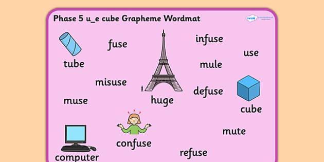 Phase 5 u_e Cube Grapheme Word Mat - phase five, graphemes