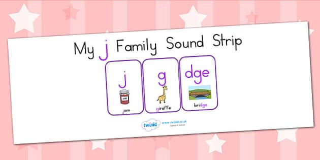 My J Family Sound Strip - sound family, visual aid, literacy