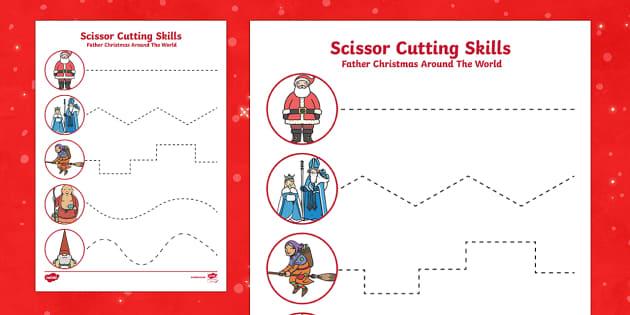 Father Christmas Around the World Cutting Skills Activity