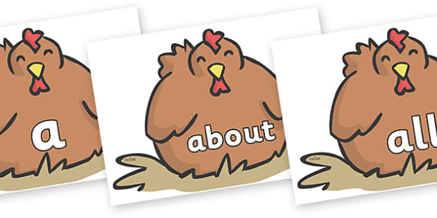 100 High Frequency Words on Chickens - High frequency words, hfw, DfES Letters and Sounds, Letters and Sounds, display words