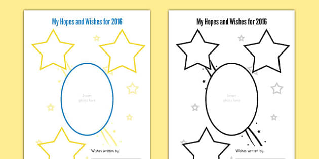 Hopes and Wishes for 2016 Person Centred Planning Sheet - hopes, wishes, 2016, person, centred, planning, sheet