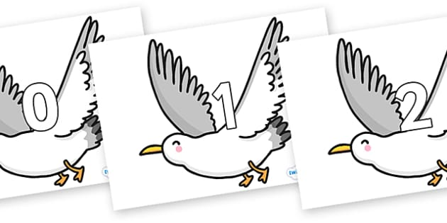 Numbers 0-100 on Seagulls - 0-100, foundation stage numeracy, Number recognition, Number flashcards, counting, number frieze, Display numbers, number posters