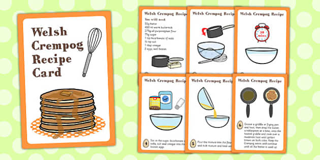 Wales Crempog Recipe Card - crempog, recipe cards, wales, recipe